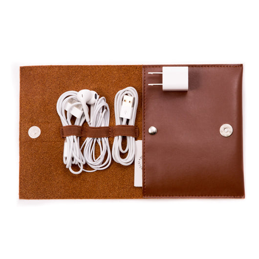Brown Leatherette Travel Charger & Accessories Pouch