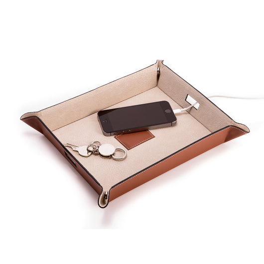 Saddle Brown Leather Valet & Charging Station with Pig Skin Leather Lining