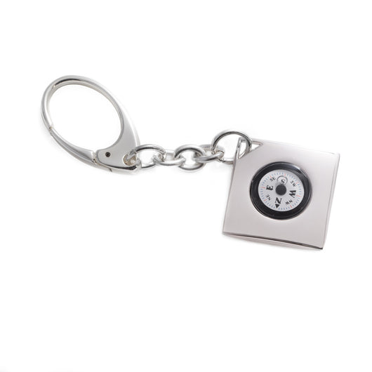 Key Ring w/ Compass, Silver Plated, T.P.
