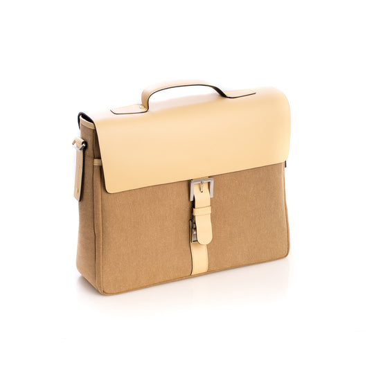 Briefcase Ivory Leather & Khaki Fabric, T.P.
