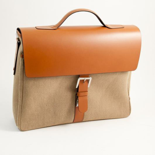 Briefcase Saddle Leather & Khaki Fabric, T.P.