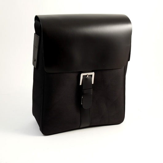 Messenger Bag Black Leather & Fabric, T.P.