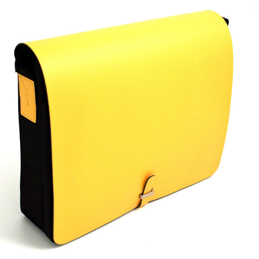 Shoulder Bag, Yellow Leather & Fabric, T.P.