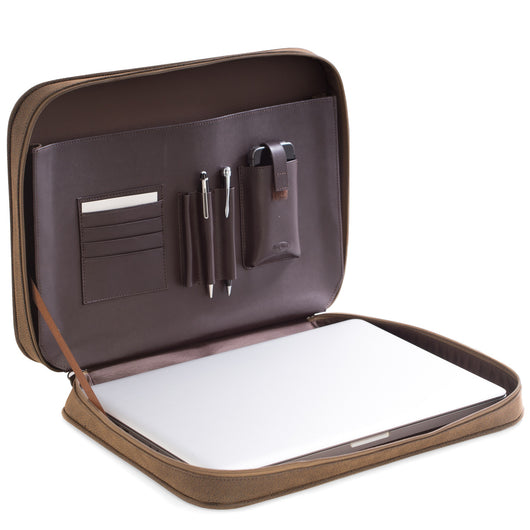 Computer & Accessories Carrying Case, Brown Ultra Suede & Leather, T.P.