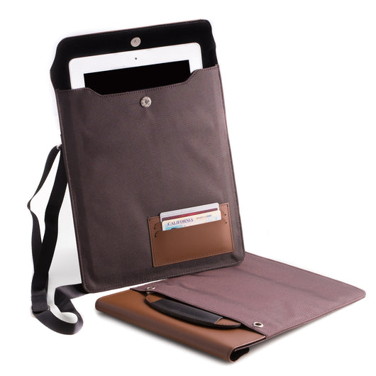 Brown Leather and Ballistic Nylon Tablet Carrying Case with Hide-away handle and Adjustable Shoulder Strap.