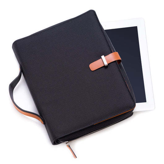 Tablet Carrying Case, Black w/ Saddle Leather, T.P.