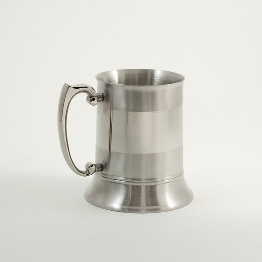 Stainless Steel Chrome & Satinized Tankard, 1 Pint, T.P.