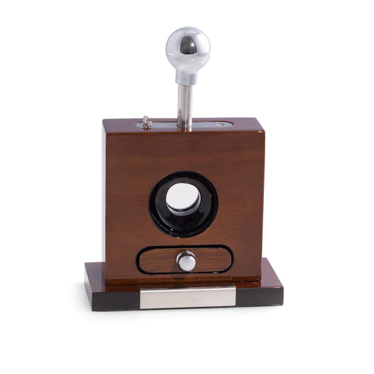 Table Top Cigar Cutter w/ Cuttings Drawer, Lacquered Walnut Wood, T.P.