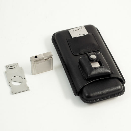 3 Cigar Holder w/ Cigar Cutter & Lighter, Black Leather Case, T.P.