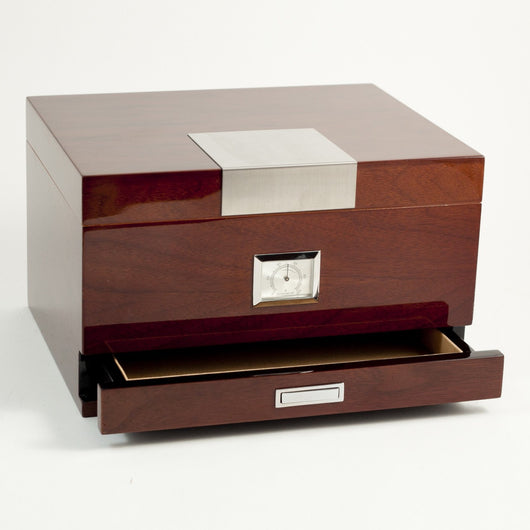 Walnut Humidor w/ Accessories Drawer, Cedar Lined w/ Hygro. & Humistat. - 60 Cigars, T.P,