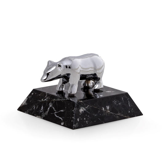 Chrome Plated Bear Paperweight on Black