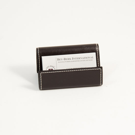 Business Card Holder, Cocoa Brown Leather