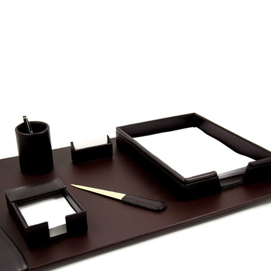 6 Piece Desk Set, Brown Leather, T.P.