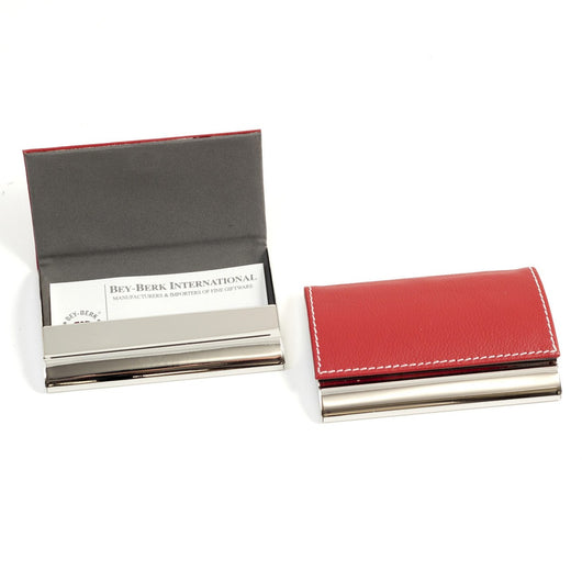 Business Card Case. Red Leather, T.P.