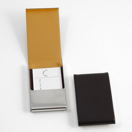 Business Card Case, Brown/Yellow Leather, T.P.