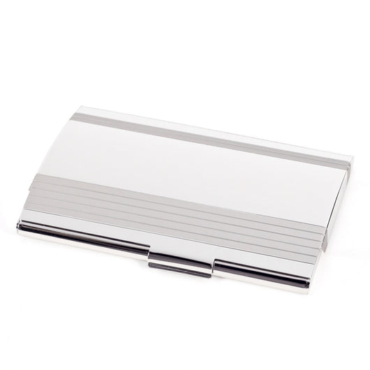 Stainless Steel Business Card Case with Brushed & Shiny Finish