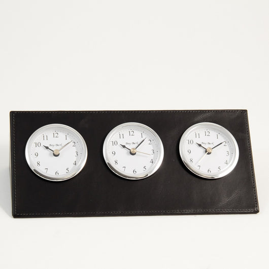 Triple Time Zone Clock in Black Leather.