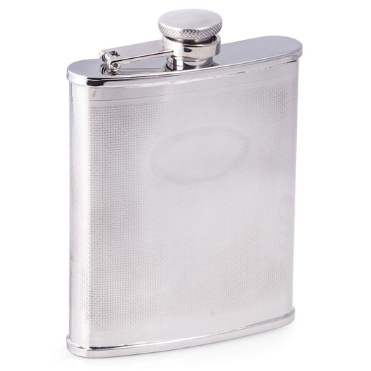 6 oz. Stainless Steel Flask with Oval Medallion.