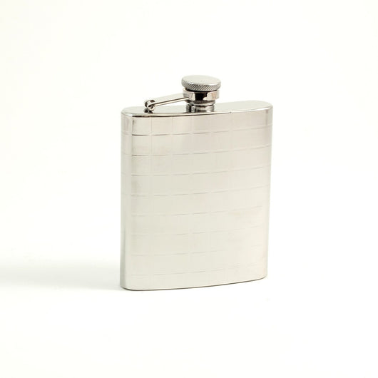 7 oz. Stainless Steel Flask in Mirrored Finish with checker Design.