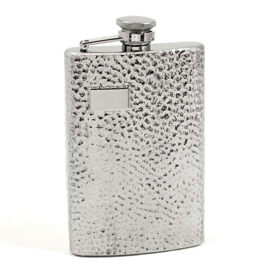 8 oz. Stainless Steel Flask in Hammered Finish.
