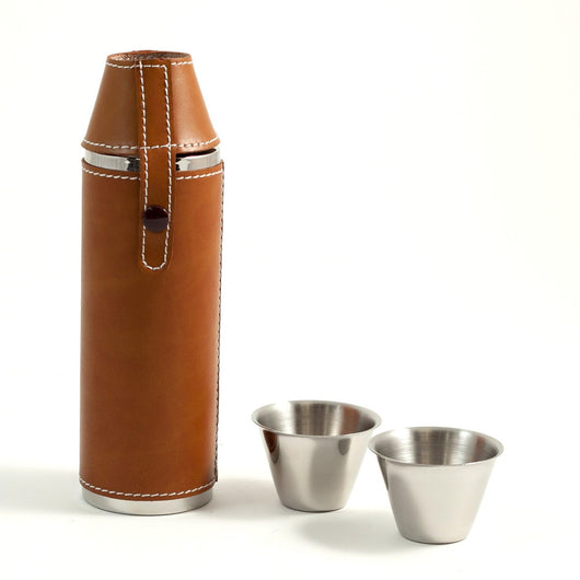 10 oz. Stainless Steel Cyllindar Flask in Tan Leather with Two Cups.