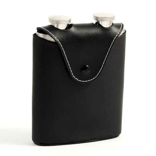 Two 3 oz. Stainless Steel Flasks in Black Leather Carrying Case.