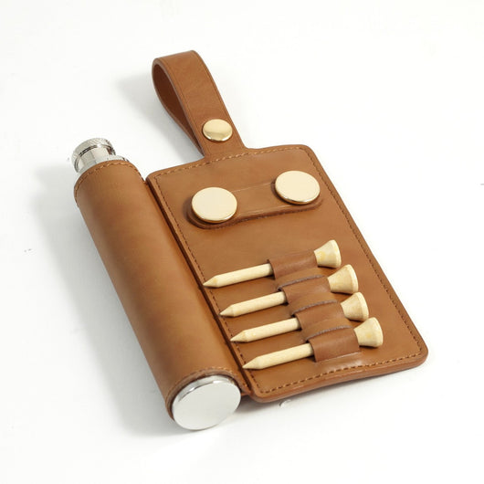 Golf Bag Tag in Brown Leather with a 2 oz. Stainless Steel Flask, 4 tee's, and 2 Ball Marker's.