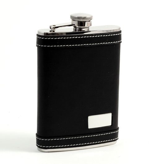 8 oz Stainless Steel Flask in Black Leather with White Stitching Accents, Includes Engraving Plate.