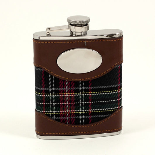 6 oz. Stainless Steel Flask in Brown Leather and Blue Plaid Fabric.