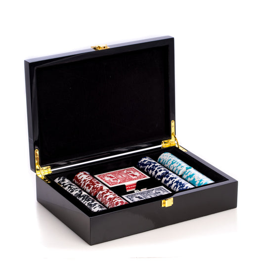 Card and Chips Set with 200, 11.5 grams Chips, Two Decks of Cards & Poker Dice. Inlaid in a Lacquer Wood Box.
