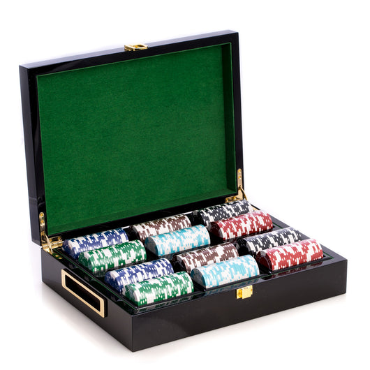 Card and Chips Set with 300, 11.5 grams Chips, Two Decks of Cards & Poker Dice. Inlaid in a Lacquer Wood Box.