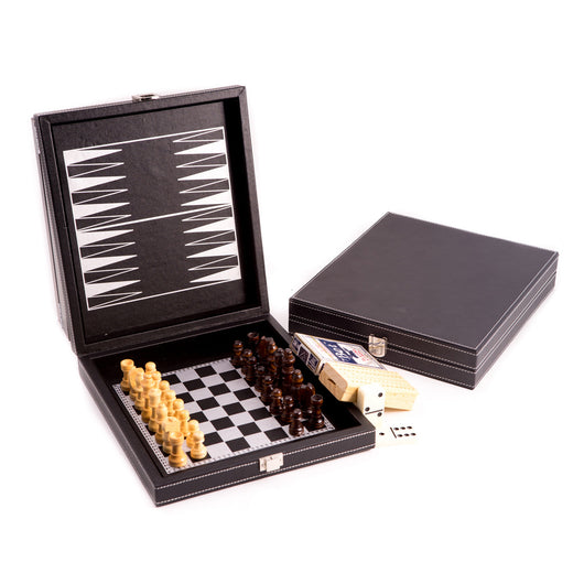 Black Leatherette 5 in 1 Game Set. Includes Chess, Backgammon, Cribbage, Dominos and a Deck of Playing Cards
