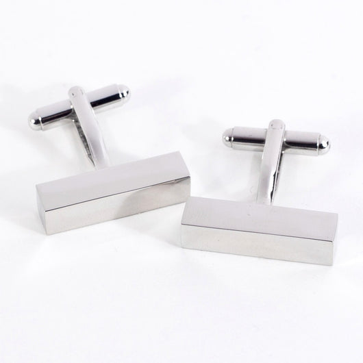 Rhodium Plated Cufflinks in Rectangular Bar Design.