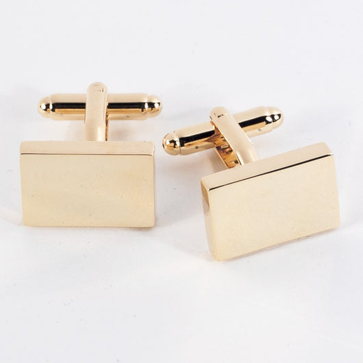 Rectangular Gold Plated Cufflinks.