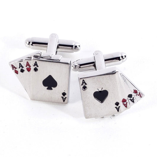 Rhodium Plated Four Aces Cufflinks.