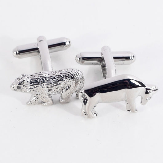 Rhodium Plated Bull & Bear Cufflinks.