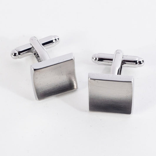 Rhodium Plated Cufflinks in Satin Finish.