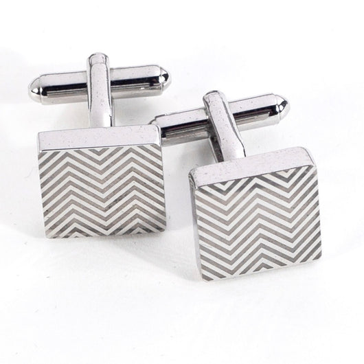 Square Waive design Rhodium Plated Cufflinks.