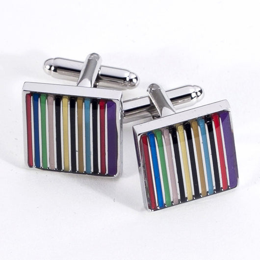 Striped Design Rhodium Plated Cufflinks.