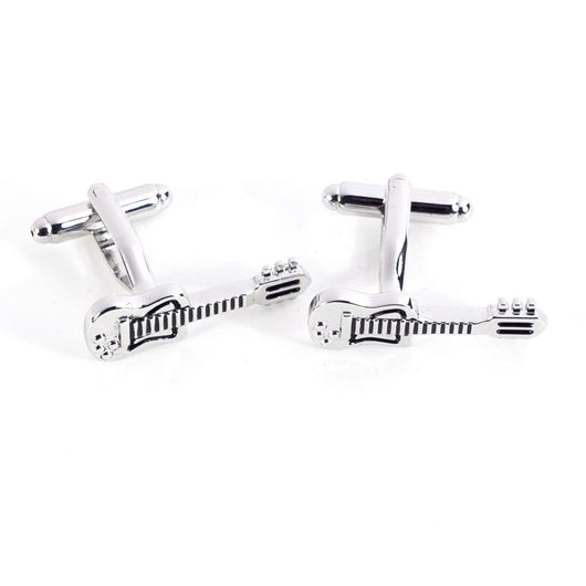 Guitar Designed Rhodium Plated Cufflinks.