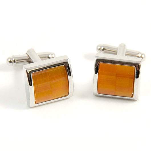 Rhodium Plated Semi Precious Orange Stone Cufflinks.