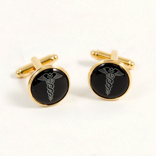 Gold Plated Cufflinks with Caduceus.