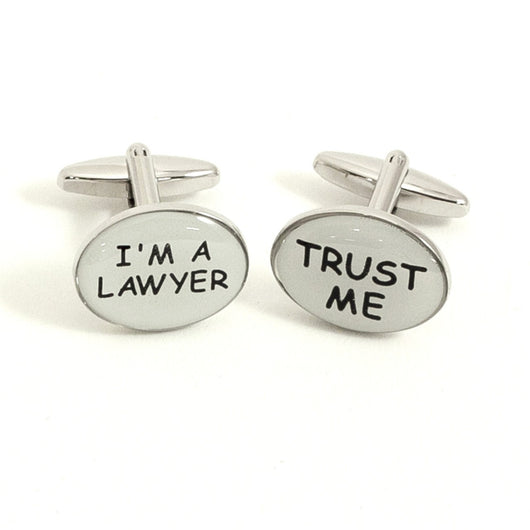 Trust Me and I'm a Lawyer Rhodium Plated Cufflinks.