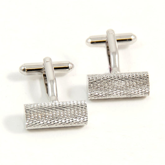 Rhodium Plated Round Bar Cufflinks, T.P.