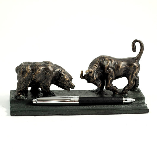 Bull and Bear Double Pen Holder, T.P.