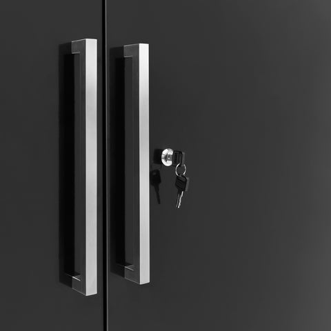 Black Doors with Stainless Steel Top / None