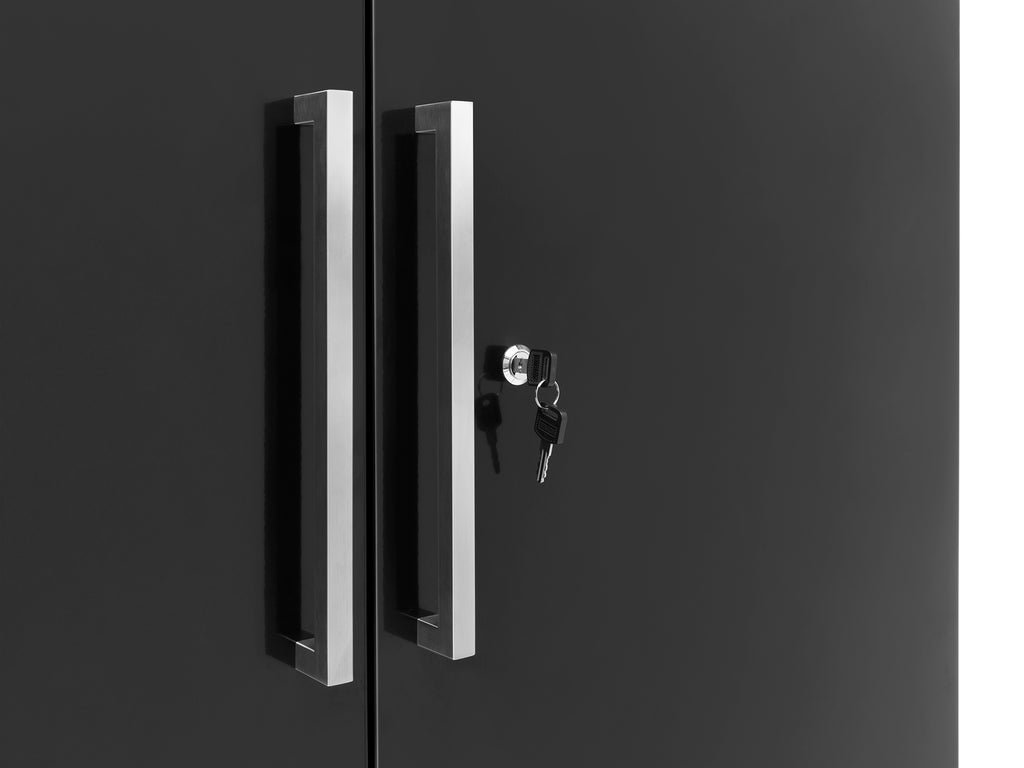 Black Diamond Plate Doors with Bamboo Top / Slatwall Backsplash Only