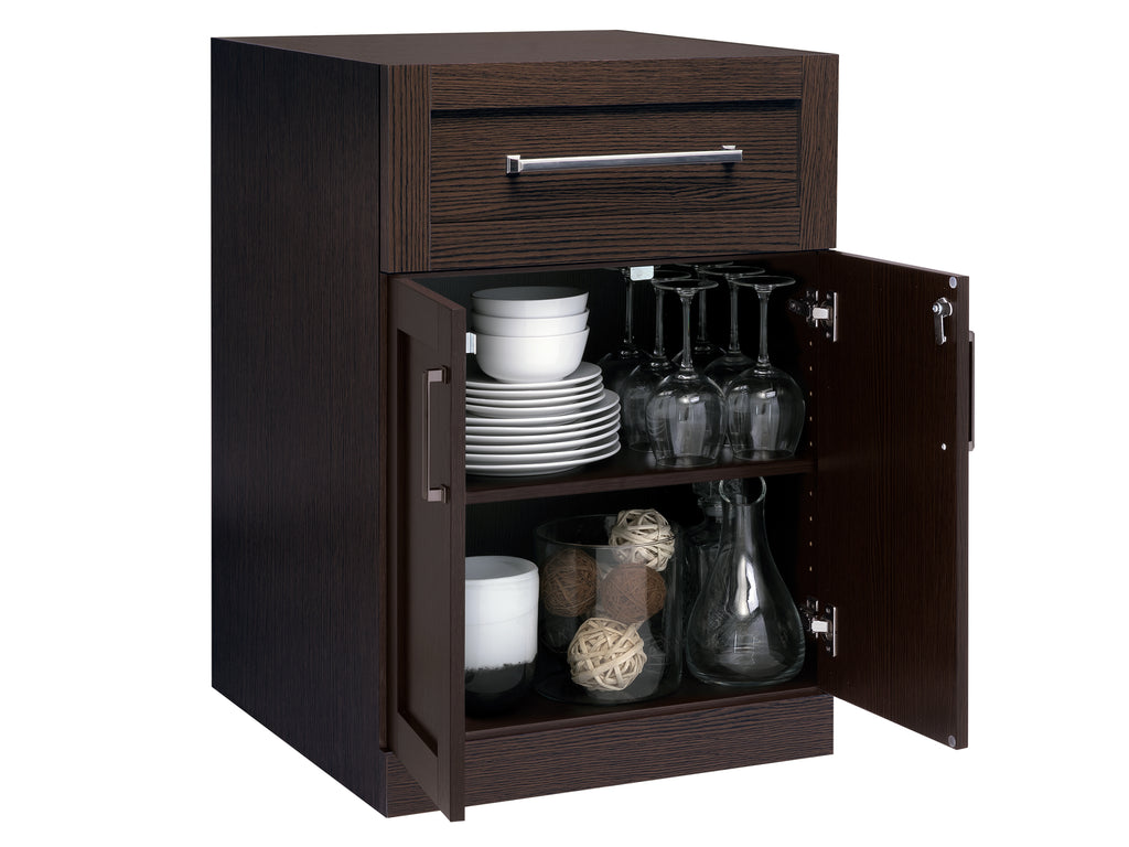 Espresso 2-Door with Drawer Home Bar Cabinet Front View