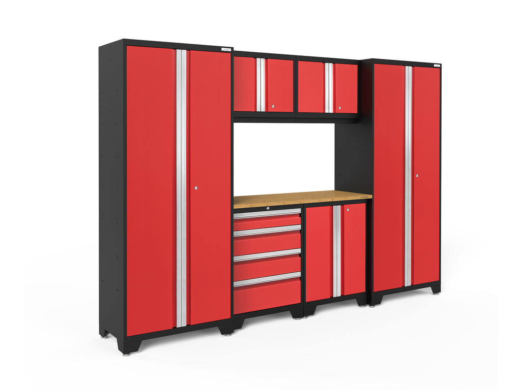 Red Doors with Bamboo Top / None