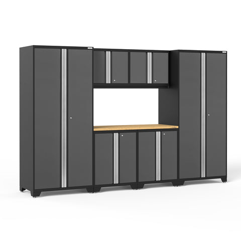 Gray Doors with Bamboo Top / None